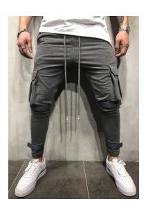 Calça Masculina Swag Bolsos Laterais - Cinza