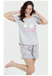 Pijama Feminino Short Doll Estampado Manga Curta Marisa