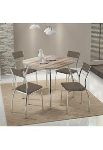 Mesa 1504 Nogueira Cromada Com 4 Cadeiras 1701 Camurça Conhaque Carraro