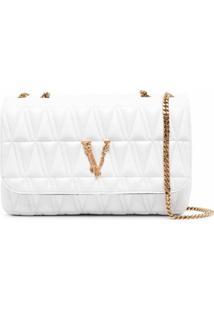 Versace Bolsa Tiracolo Com Logo E Efeito Matelassê - Branco