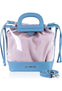 Bolsa Bucket Bag Campezzo Vinil Transparente E Azul