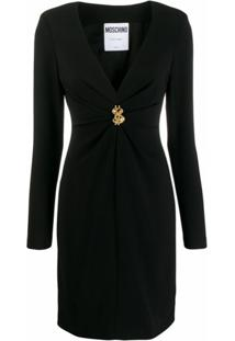 Moschino Vestido Decote V Com Franzido - Preto