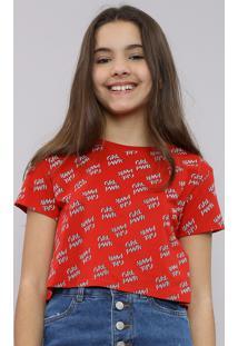 "Blusa Infantil Cropped Estampada ""Grl Pwr"" Manga Curta Decote Redondo Vermelha"