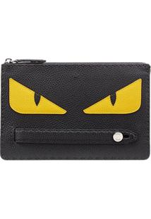 Fendi Clutch 'Bug Eyes' De Couro - Preto