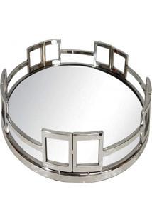 Bandeja Redonda- Pashmina- Aco Polido Com Espelho- Prata