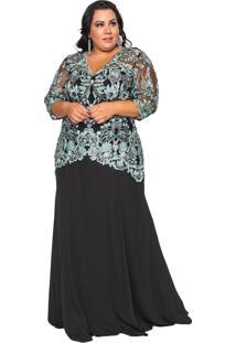 Vestido Almaria Plus Size Pianeta Festa Tule Preta