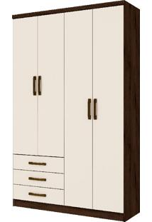 Guarda-Roupa Caju 4 Portas E 3 Gavetas - Henn - Cafe / Off White