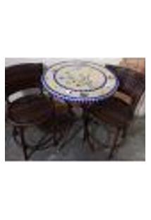 Conjunto De Mesa E Cadeira Varanda Azul E Cinza