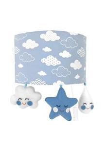 Arandela Meia Lua Chuva De Amor Azul Quarto Bebê Infantil Menino