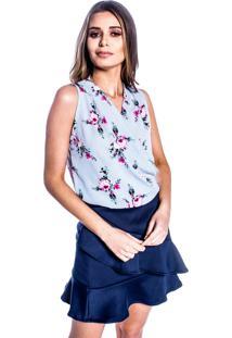 Blusa Carbella Crepe Espampada Transpassada Azul Floral