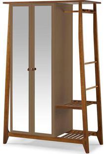 Armário Multiuso Stoka 2 Portas Com Espelho Nogal/Marrom Médio Maxima