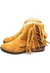 Bota Love Shoes Cano Curto Franjas Laterais Camurça Trend Caramelo Claro