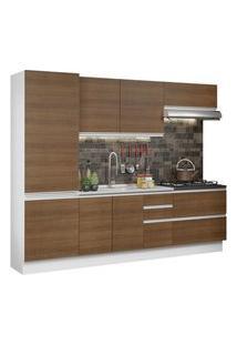 Cozinha Completa 100% Mdf Madesa Acordes 260001 Com Armário E Balcão (Sem Tampo E Pia) Branco/Rustic Cor:Branco/Rustic