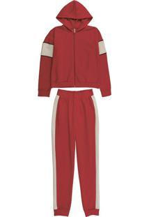 Conjunto Jaqueta E Calça Em Moletom Vermelho