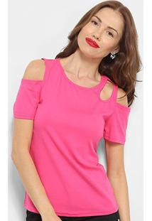 Blusa Top Moda Open Shoulder Feminina - Feminino-Rosa