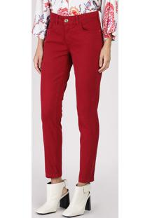 Calça De Sarja Feminina Skinny Cintura Média Vermelha
