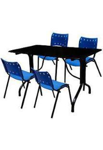 Jogo De Mesa Fixa 120 Por 70 Tampo Preto 4 Cadeiras Azul Plástico