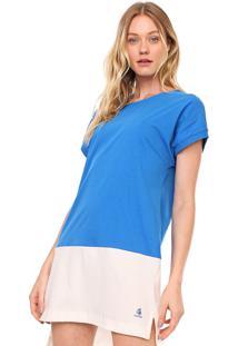 Vestido Cantão Curto Liso Off-White/Azul