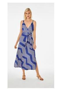 Vestido Midi Decote Transpassado Com Faixa Azul P
