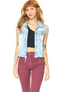 Colete Jeans Lady Rock Curto Comfort Azul