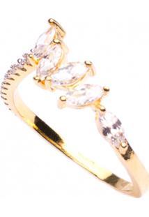 Anel Boca Santa Semijoias Coroação Em Cristal Ouro Amarelo