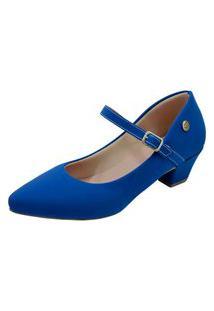 Scarpin Donna Santa Bico Fino Boneca Azul Nobuck