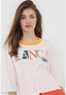 Camiseta Lanã§A Perfume Lettering Neon Off-White/Laranja - Off White - Feminino - Viscose - Dafiti