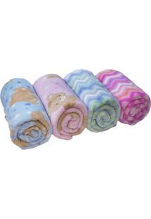 Cobertor Ursinho Em Microfibra- Rosa Claro & Marrom Clarcamesa