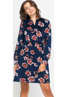 Vestido Mangas Longas Com Elastico Floral Azul