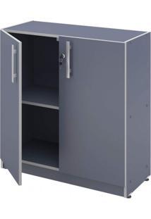 Armário Para Escritório 2 Portas Luxo 82Cm Plata Móveis Azul/Cinza