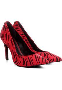 Scarpin Couro Jorge Bischoff Animal Print Tigre - Feminino-Vermelho