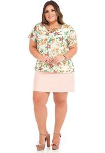 Blusa Rovitex Plus Size - Feminino-Branco