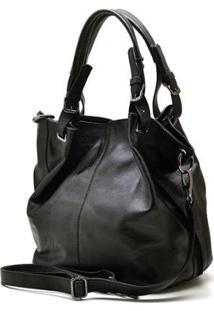 Bolsa Couro Hendy Bag Com Repartição Feminina - Feminino-Preto