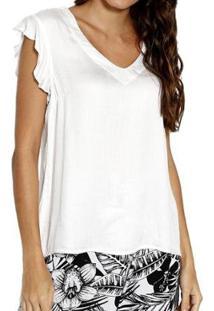 Blusa Energia Fashion Plano Lisa Feminina - Feminino-Off White
