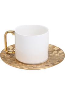 Conjunto 6 Xícaras Para Chá Com Pires De Porcelana Wolff 200Ml – Vera Gold
