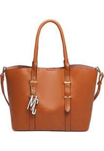 Bolsa Macadamia Tote Bag Com Compartimento Interno Caramelo - Feminino-Caramelo