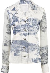 Chloé Blusa Estampada Com Recortes Translúcidos - Branco