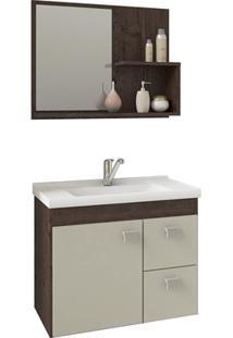 Gabinete Suspenso Para Banheiro Hortência 46X55Cm Café E Off White