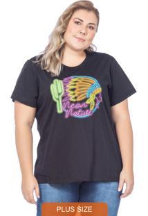 T-Shirt Feminina Native Neon Preto