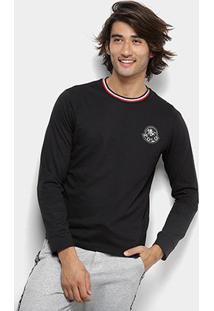 Camiseta Polo Rg 518 Gola Listrada Logo Manga Longa Masculina - Masculino-Preto