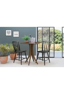 Mesa Com Duas Cadeiras Quadrada Juliette - Nogueira E Preto