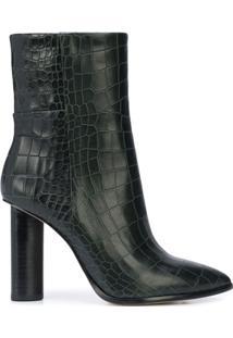 Paige Bota Salto Alto Com Efeito Pele De Crocodilo - Preto