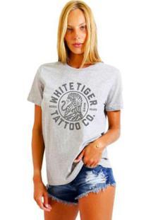 Camiseta Joss Feminina Estampada White Tiger - Feminino-Mescla