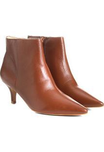 Bota Couro Cano Curto Shoestock Salto Curto Feminina