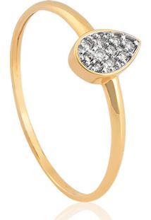 Anel De Ouro 18K De Gota Com Diamante