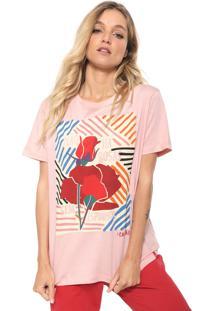 Camiseta Cantão Estampada Rosa