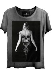 Camiseta Skull Lab Caveira Ghost Corte A Fio Cinza