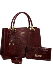 Kit Selten Bolsa Handbag Textura Croco Alça Removível & Carteira Feminina - Feminino
