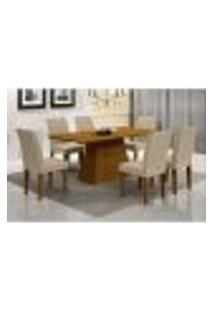 Conjunto De Mesa De Jantar Luna Com 6 Cadeiras Grécia Veludo Imbuia E Creme 180 Cm