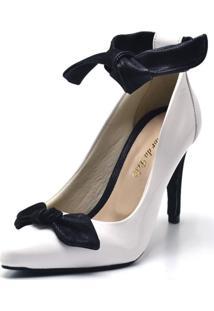 Sapato Scarpin Com Laço Salto Alto Fino Em Napa Verniz Branca - Kanui